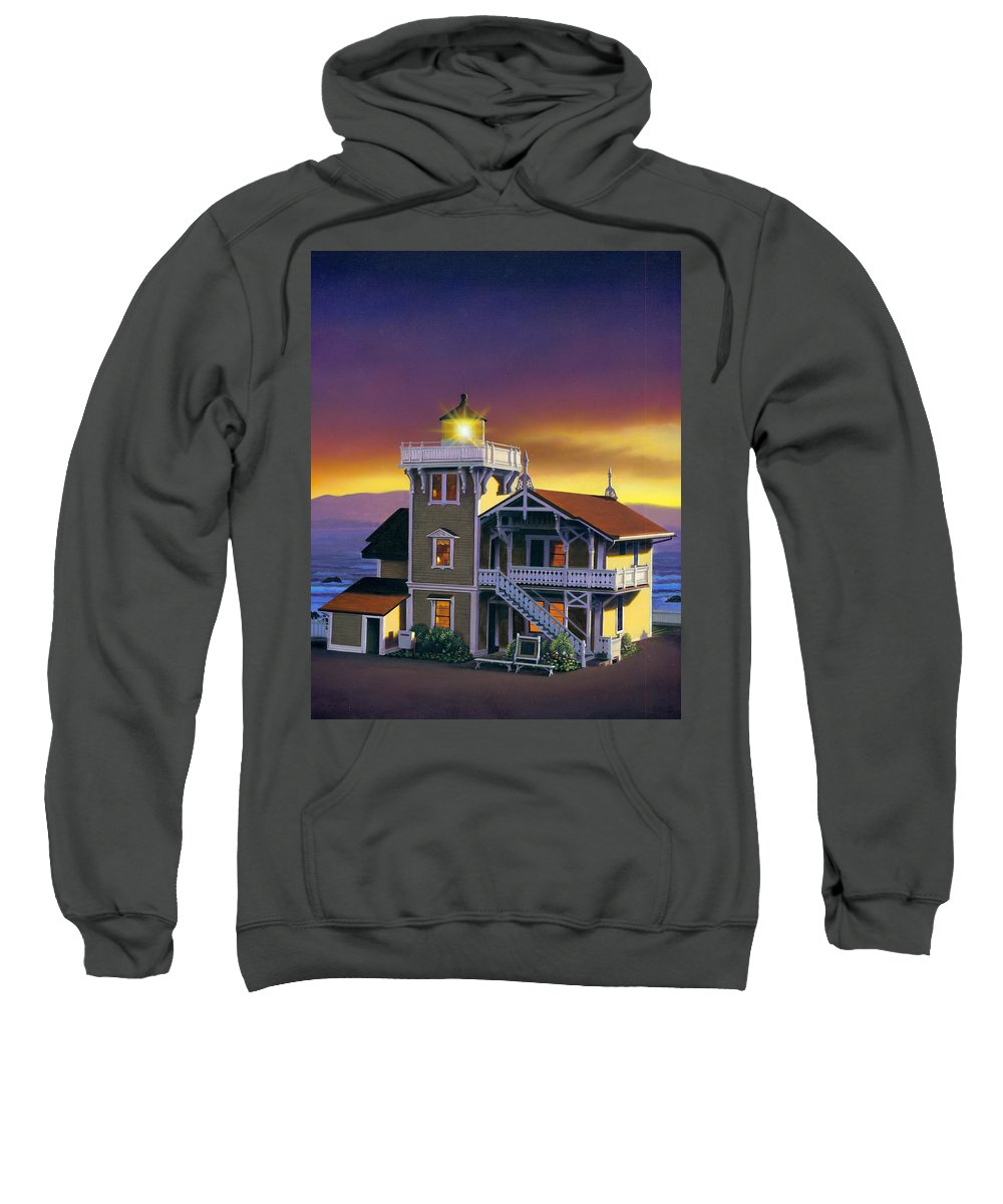 Lighthouse Sweatshirt featuring the photograph East Brother Lighthouse by MGL Studio - Chris Hiett