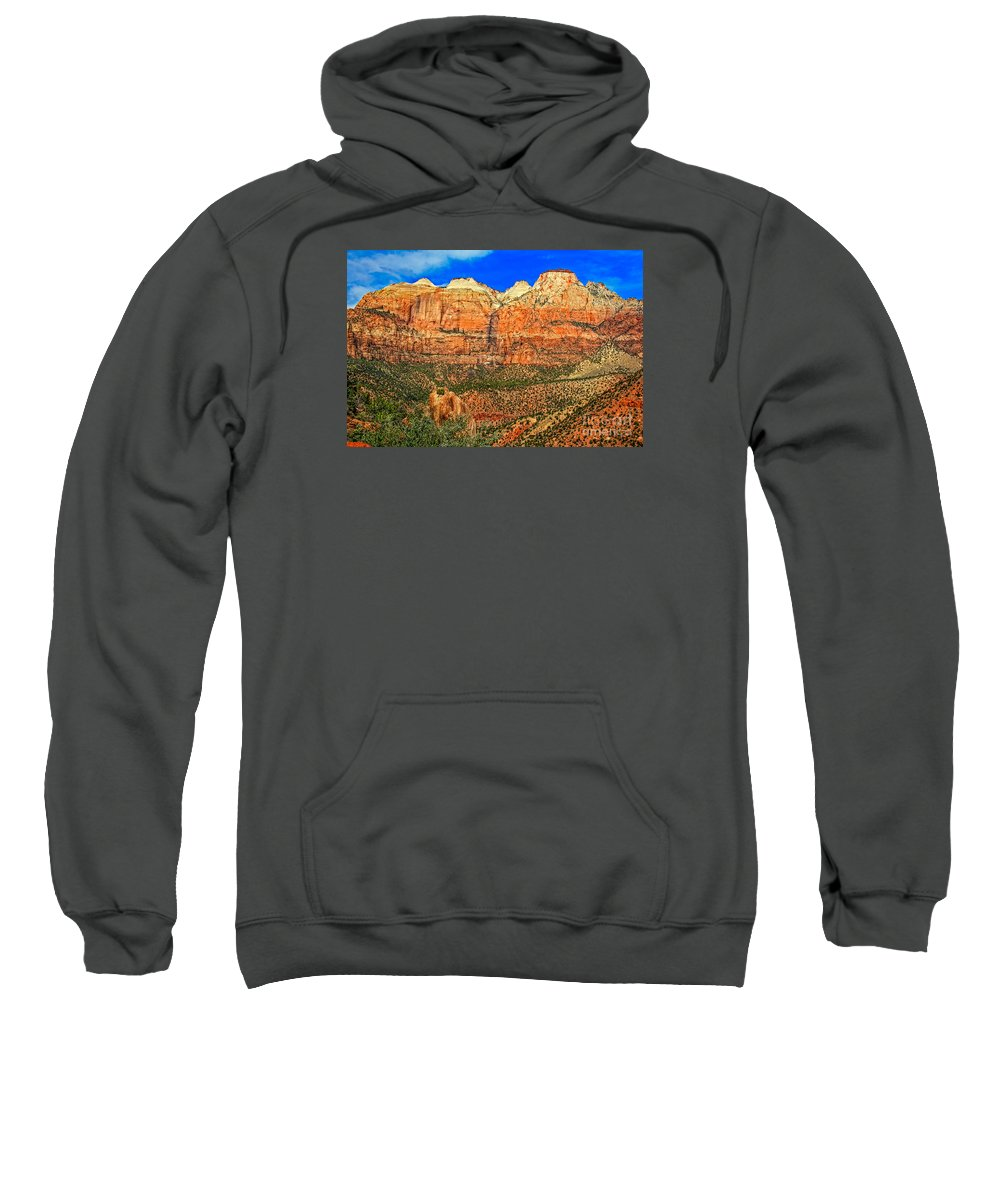 Zion National Park Sweatshirt featuring the photograph East Temple by Robert Bales