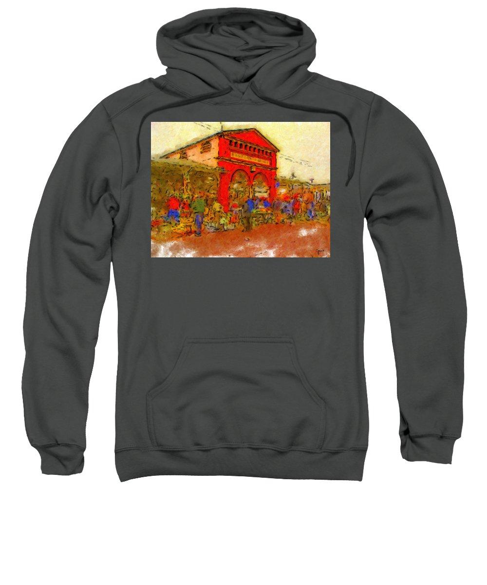 Detroit Sweatshirt featuring the painting Eastern Market by John Farr