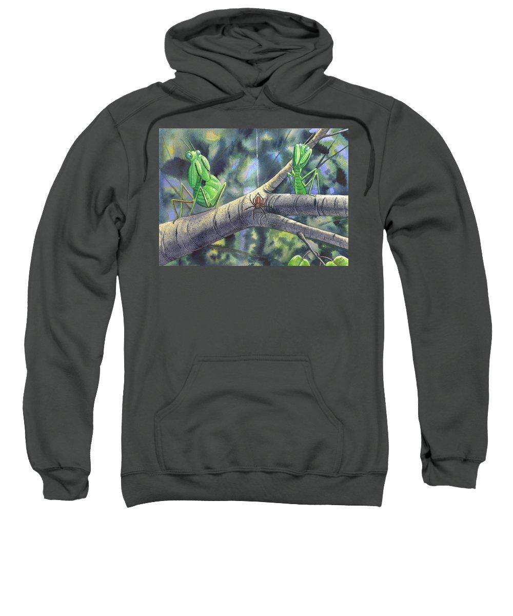 Mantis Sweatshirt featuring the painting EEK by Catherine G McElroy