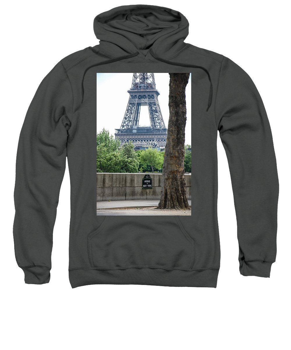 Above Sweatshirt featuring the photograph Eiffel Tower Avenue De New York by Dany Lison