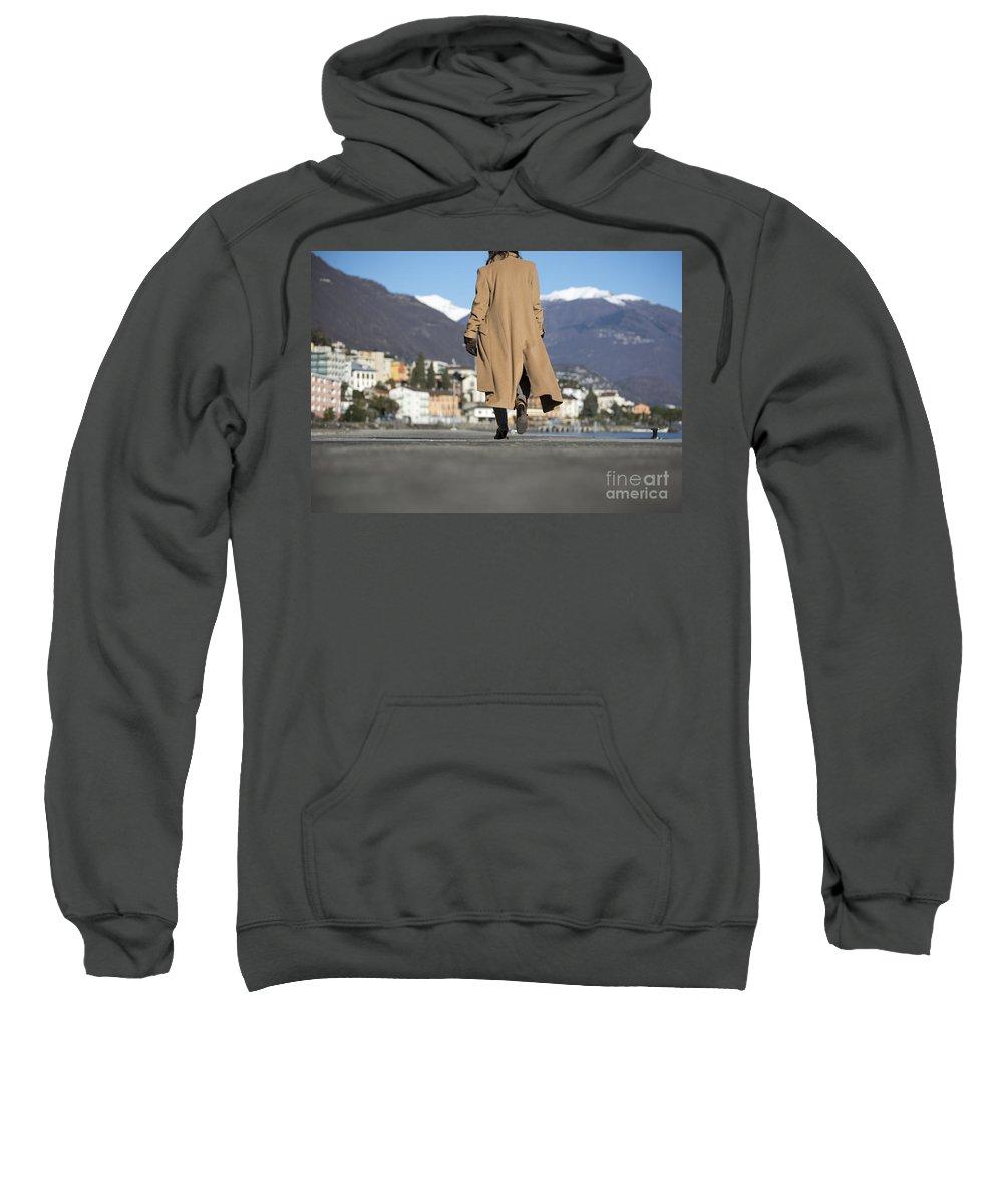 Woman Sweatshirt featuring the photograph Elegant Woman Walking by Mats Silvan