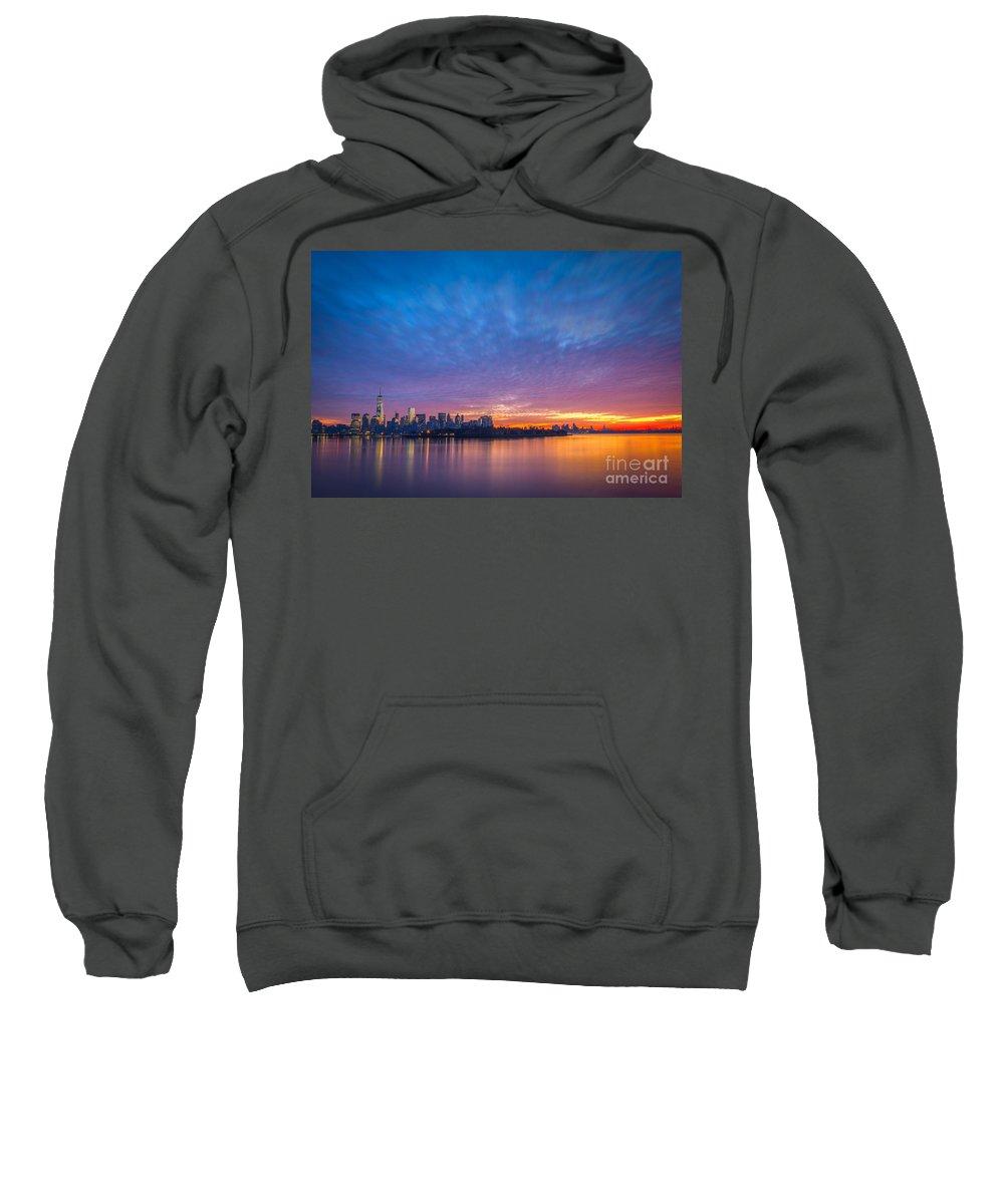 Lower Manhattan Sweatshirt featuring the photograph Ellis Island And Manhattan Sunrise by Michael Ver Sprill