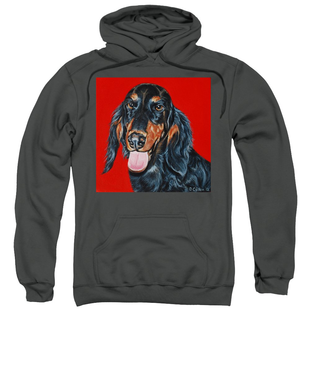Dachshund Painting Sweatshirt featuring the painting Elroy by Deborah Cullen