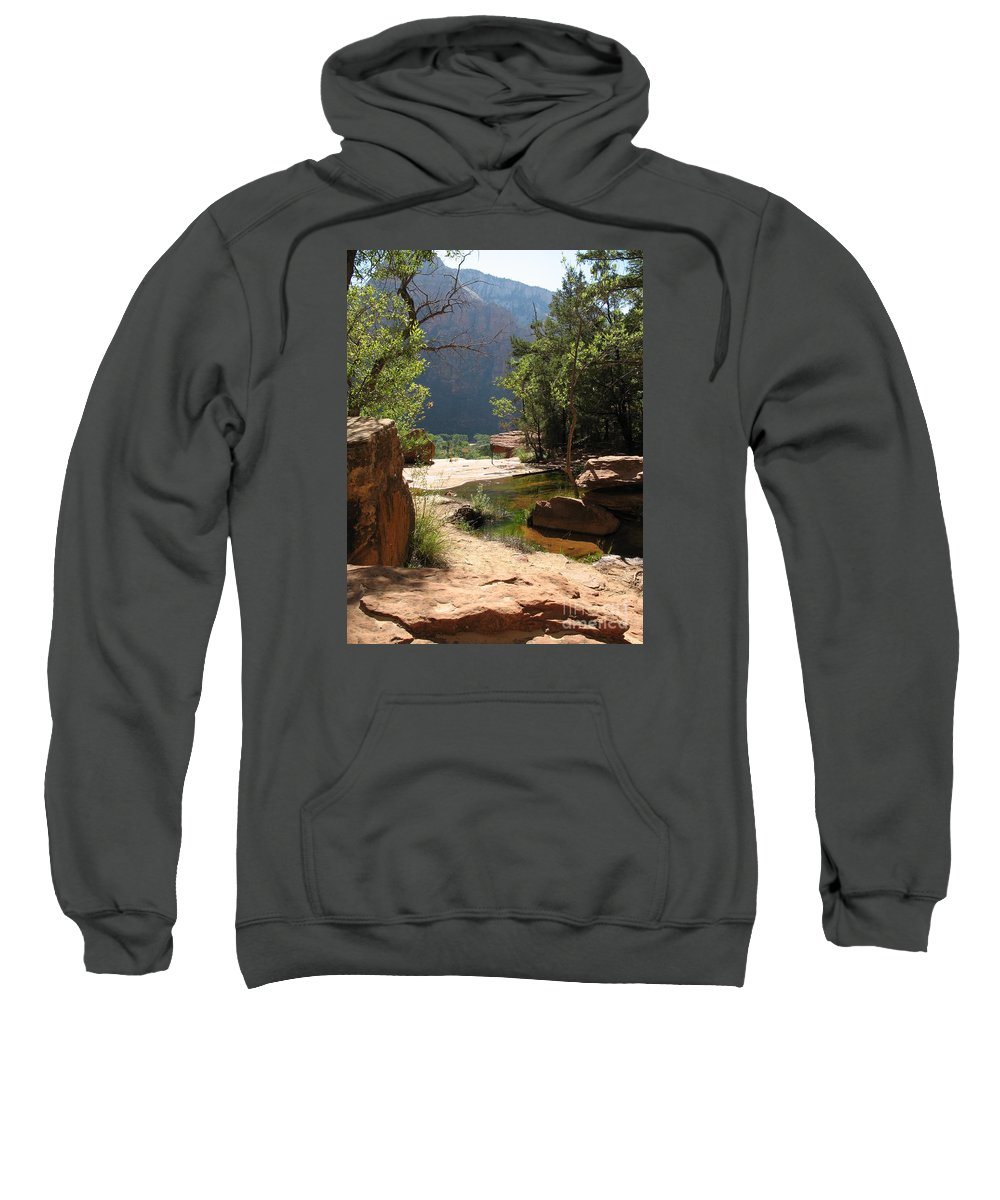 Rocks Sweatshirt featuring the photograph Emerald Pool View by Christiane Schulze Art And Photography
