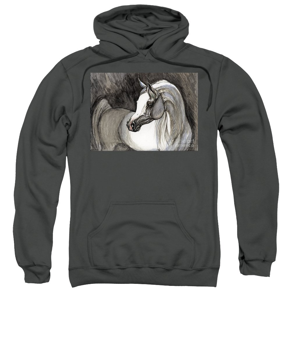 Grey Horse Sweatshirt featuring the painting Emerging From The Darkness by Angel Ciesniarska