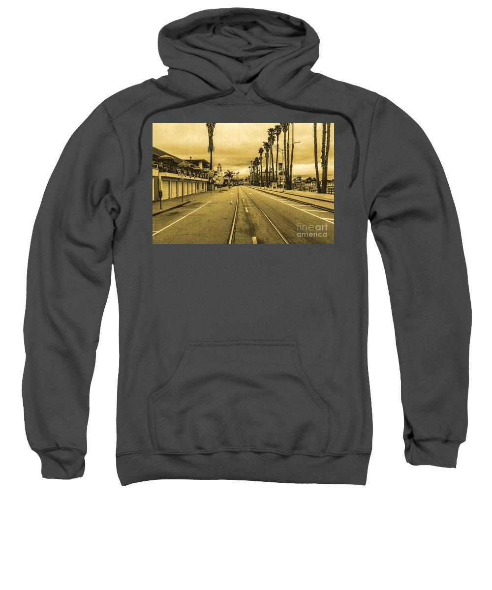Streets Of Santa Cruz Sweatshirt featuring the photograph Beach Street by Digital Kulprits