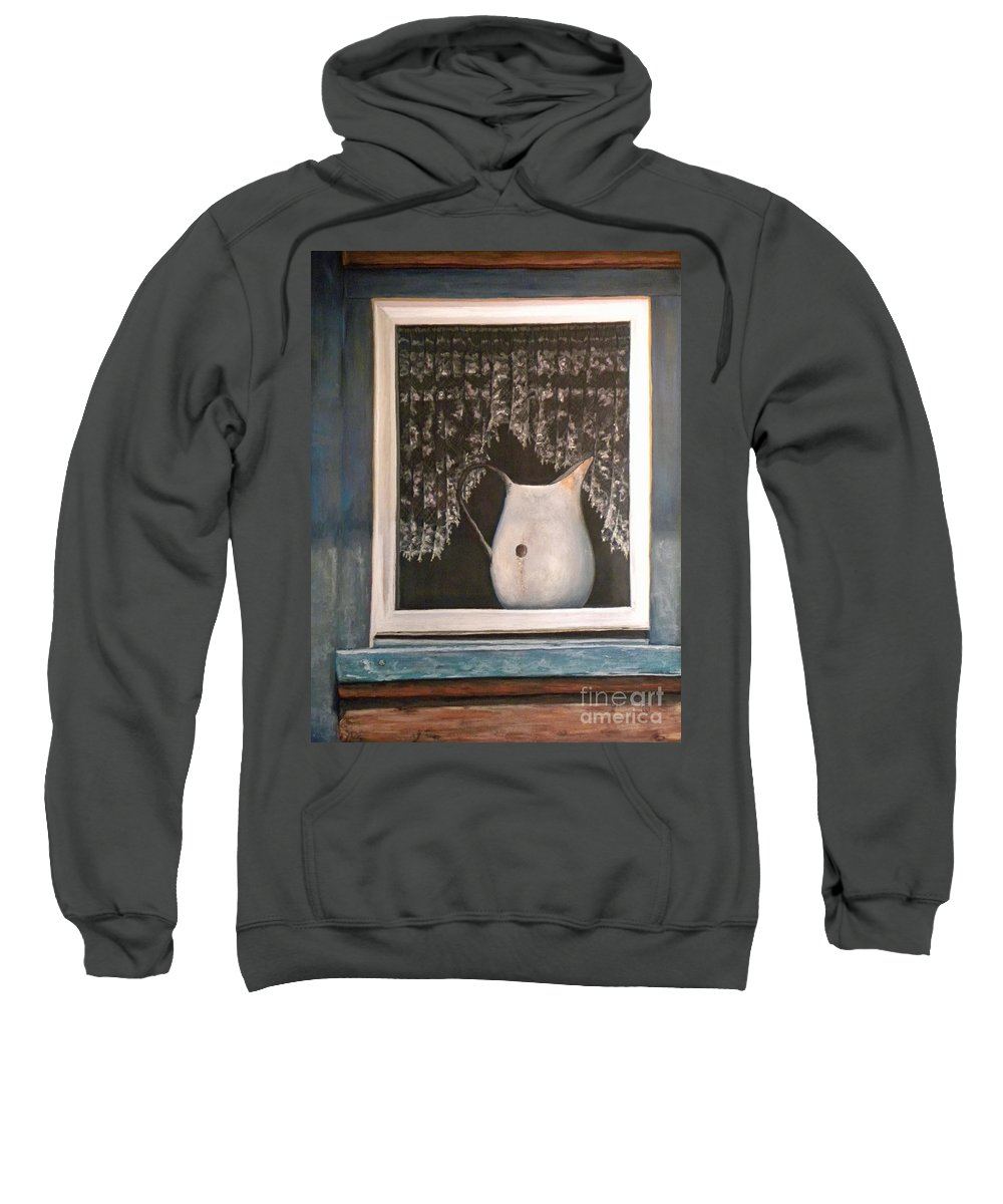 Lace Curtains Sweatshirt featuring the pastel Enamel And Lace by Jennifer Hammer