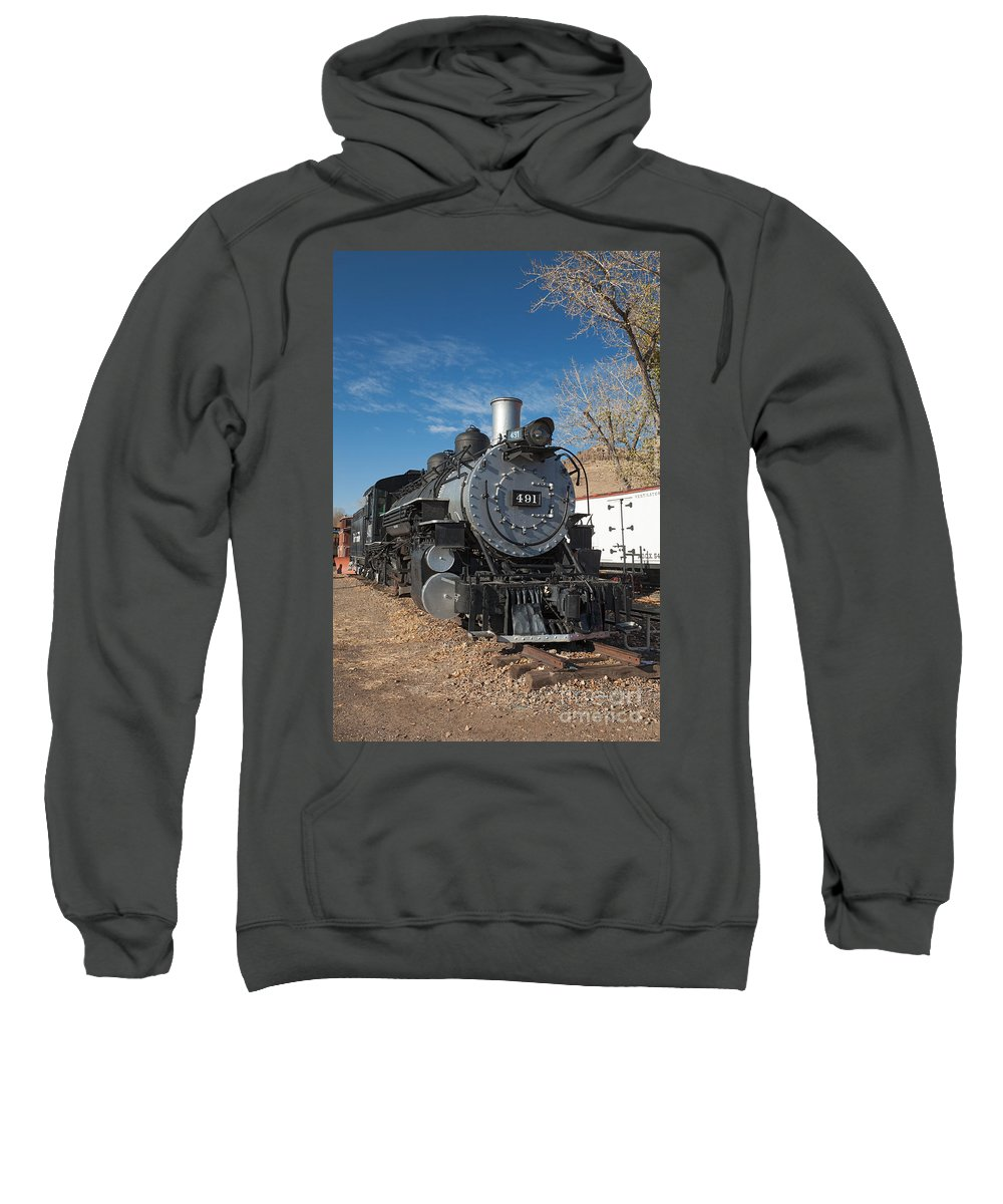 Colorado Sweatshirt featuring the photograph Engine 491 In The Colorado Railroad Museum by Fred Stearns