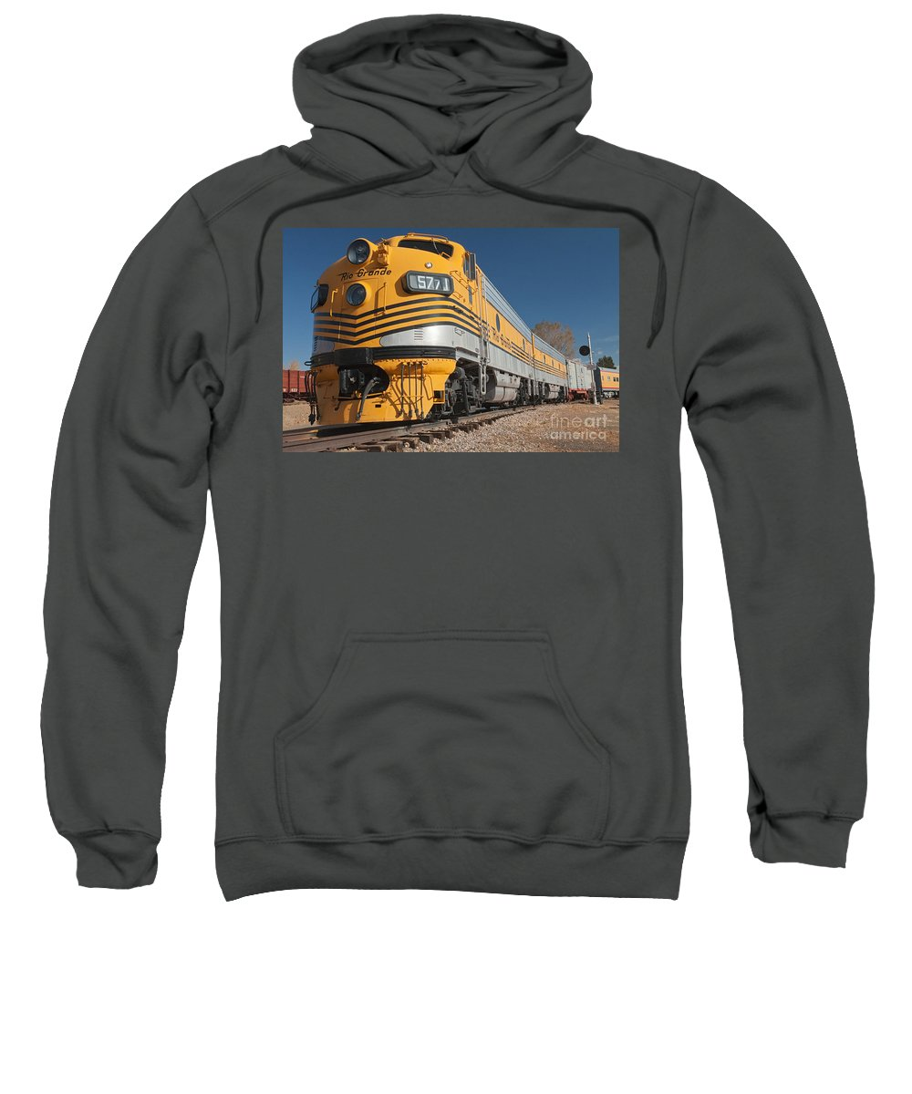 Colorado Sweatshirt featuring the photograph Engine 5771 In The Colorado Railroad Museum by Fred Stearns