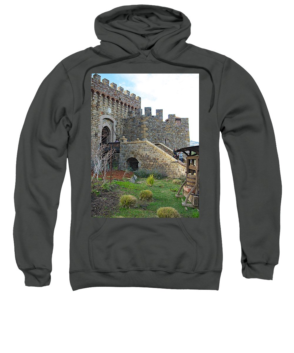 Entrance Castello Di Amorosa In Napa Valley Sweatshirt featuring the photograph Entrance To Castello Di Amorosa In Napa Valley-ca by Ruth Hager