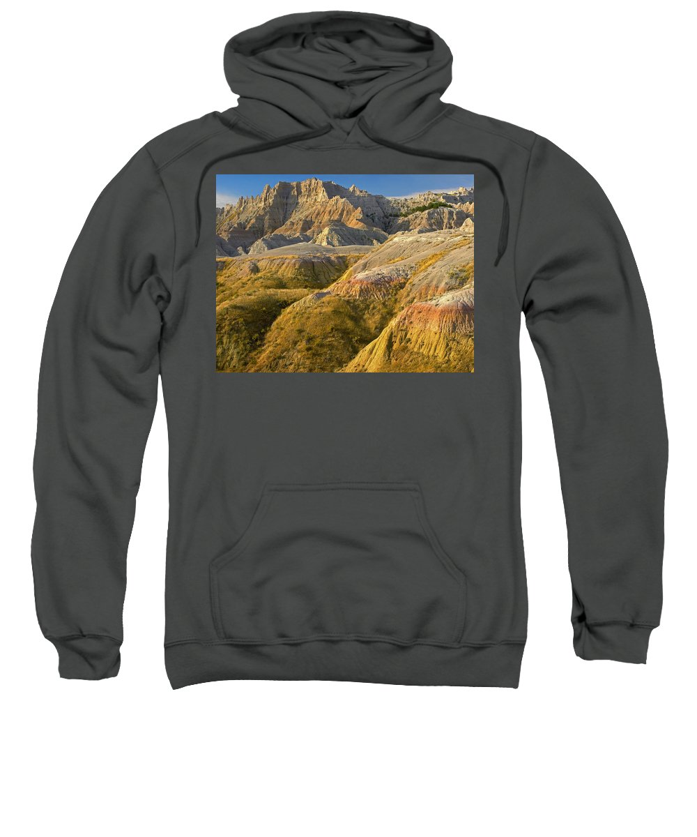 Badlands National Park Sweatshirt featuring the photograph Eroded Buttes Badlands National Park by Tim Fitzharris
