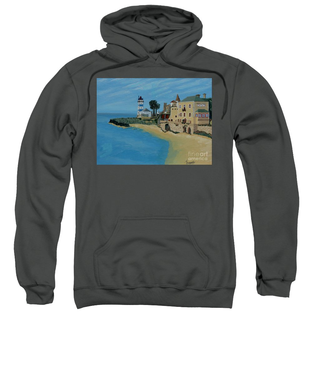 Lighthouse Sweatshirt featuring the painting European Lighthouse by Anthony Dunphy