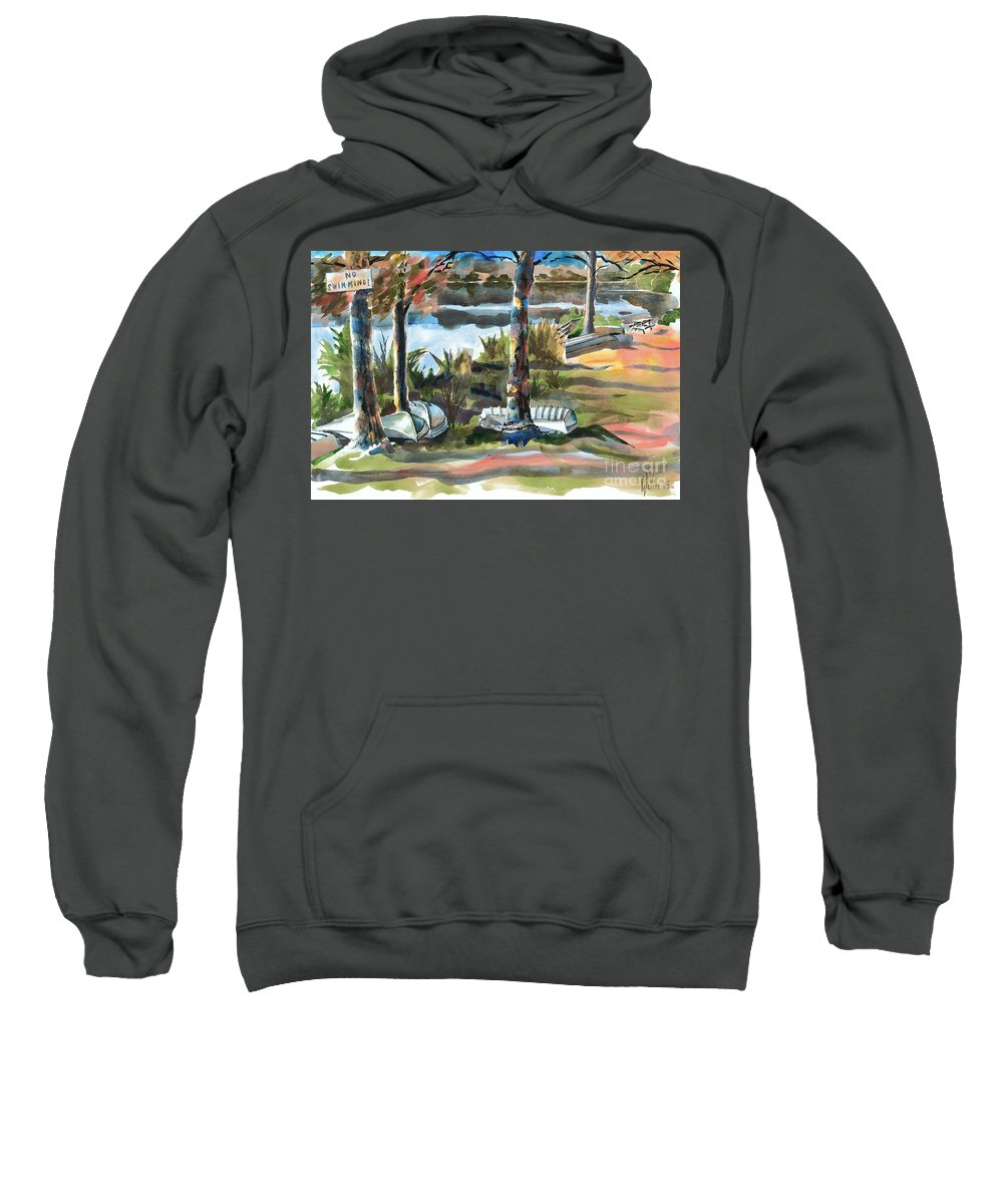 Evening Shadows At Shepherd Mountain Lake No W101 Sweatshirt featuring the painting Evening Shadows At Shepherd Mountain Lake No W101 by Kip DeVore