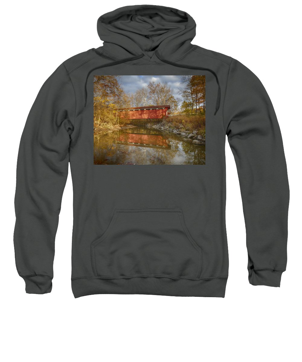 Cvnp Sweatshirt featuring the photograph Everett Rd. Covered Bridge In Fall by Jack R Perry
