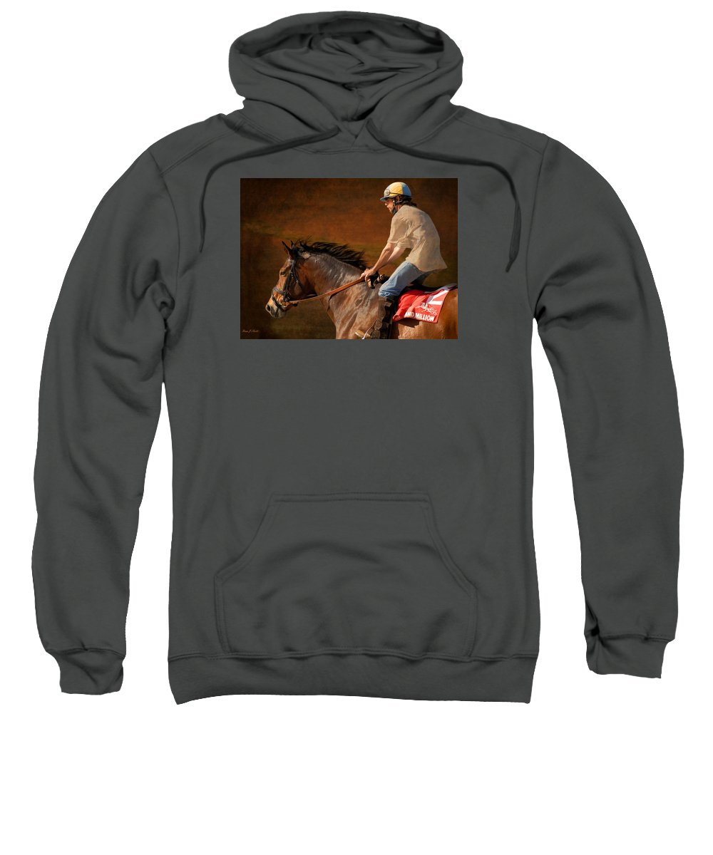 Race Sweatshirt featuring the photograph Exercising Morty by Fran J Scott