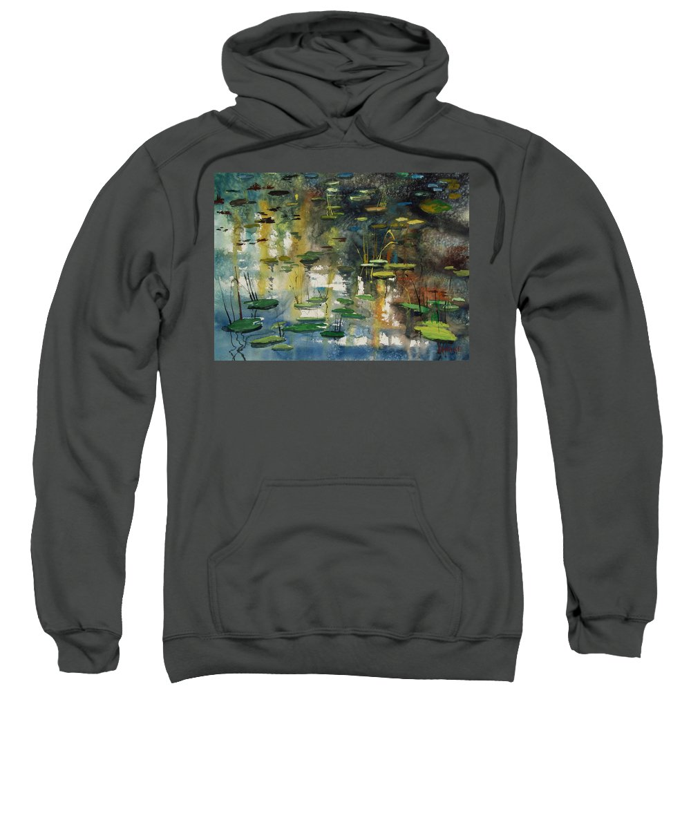 Watercolor Sweatshirt featuring the painting Faces In The Pond by Ryan Radke