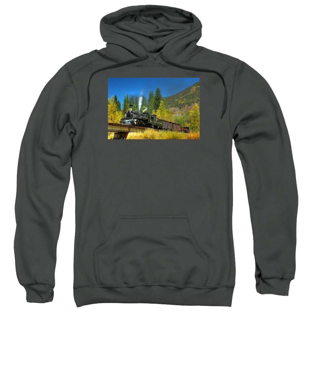 Steam Train Photographs Sweatshirt featuring the photograph Fall Colored Bridge by Ken Smith