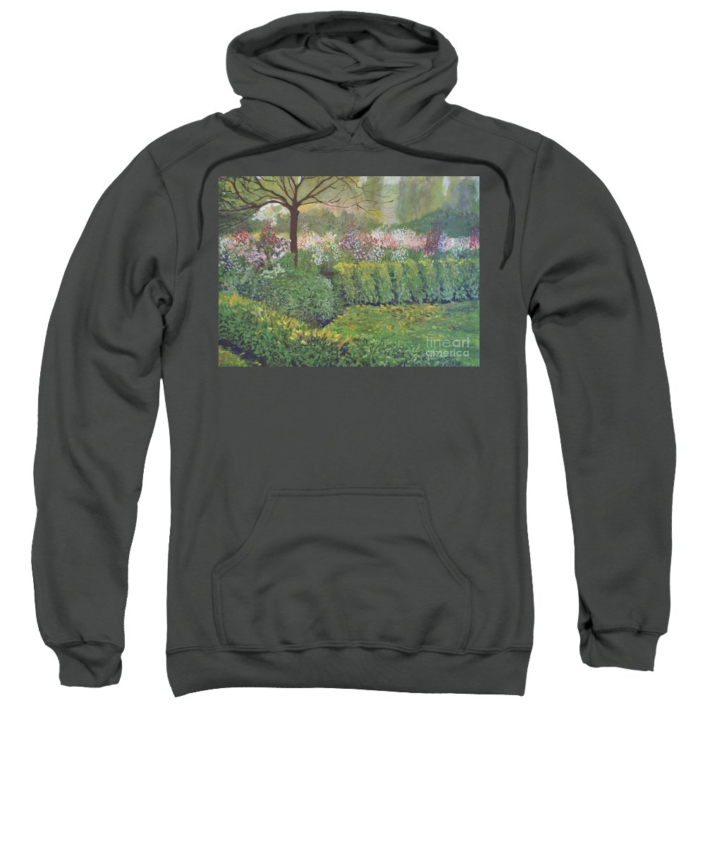 Ide De France Sweatshirt featuring the painting Fall In Monet's Garden by Anne Wilson