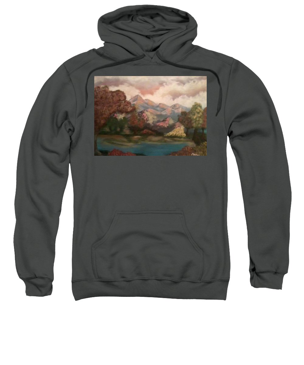 Landscape Sweatshirt featuring the painting Fall In The Mountains by Amanda Rardin