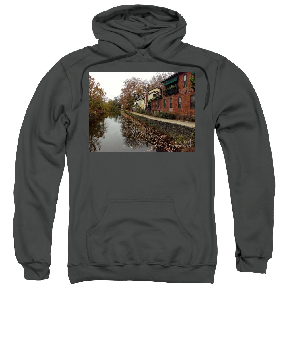 Lambertville Sweatshirt featuring the photograph Fall On The Canal by Christopher Plummer