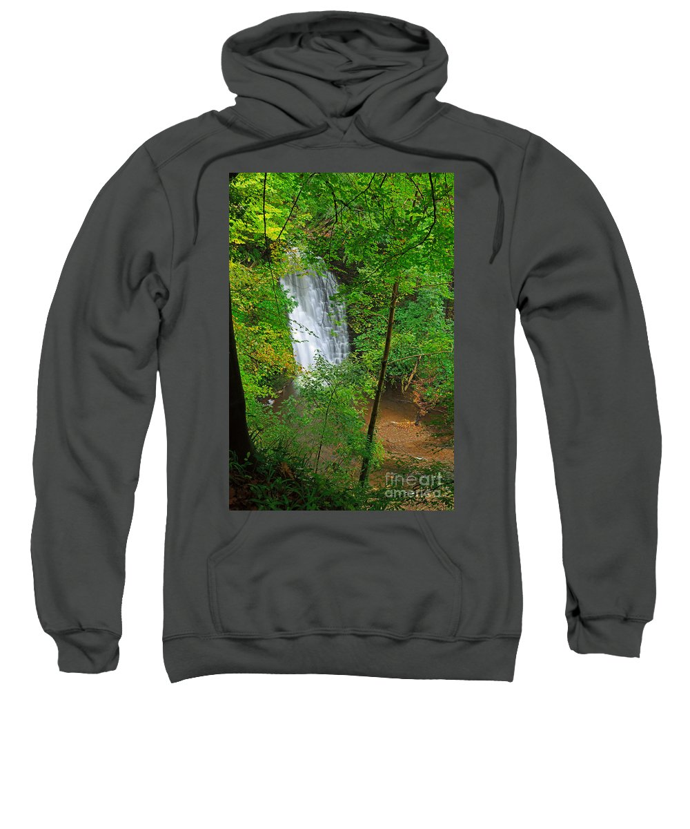 Waterfall Sweatshirt featuring the photograph Falling Foss Waterfall In North York Moors National Park by Louise Heusinkveld
