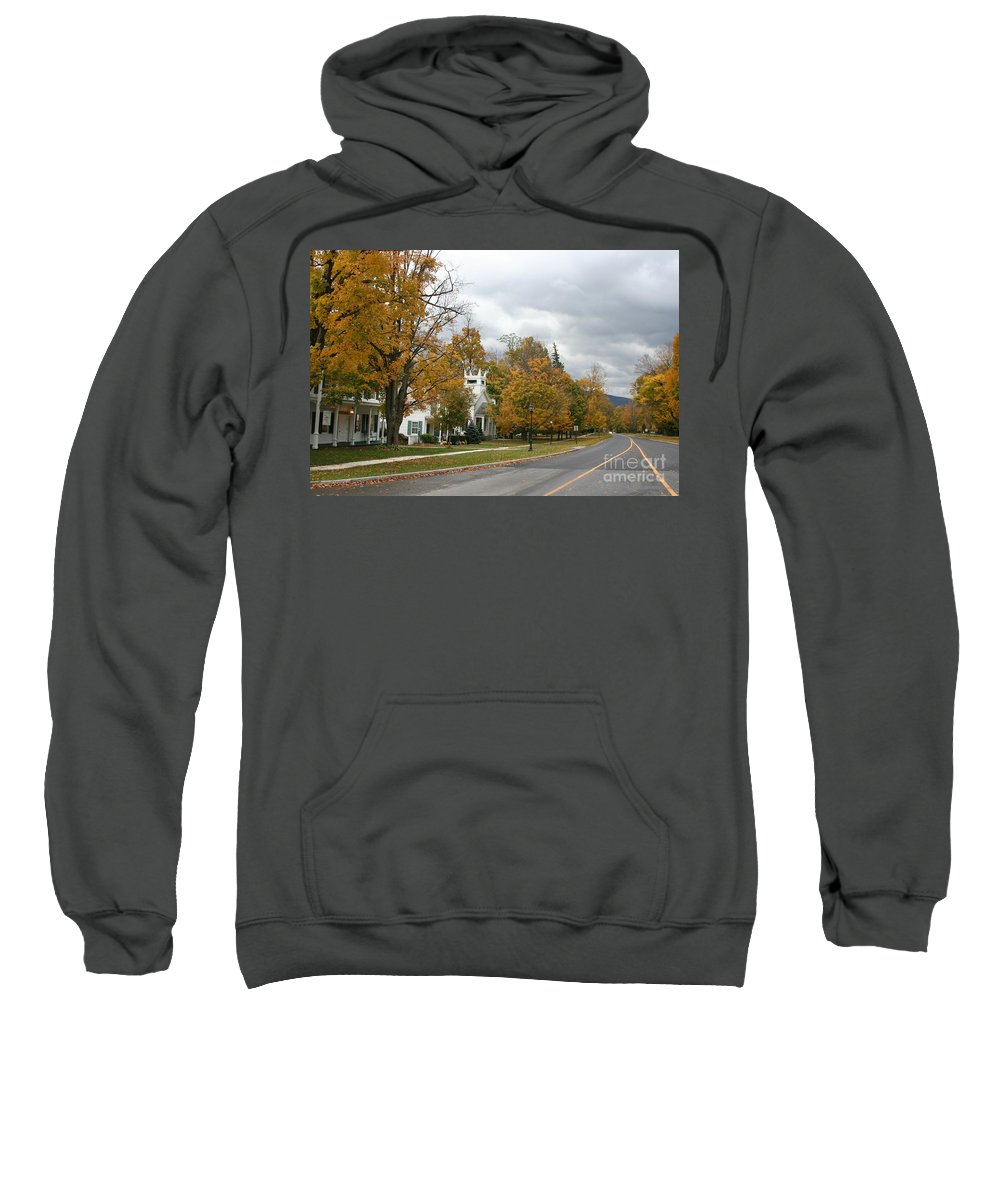 Indian Summer Sweatshirt featuring the photograph Autumn Trees At The Roadside by Christiane Schulze Art And Photography