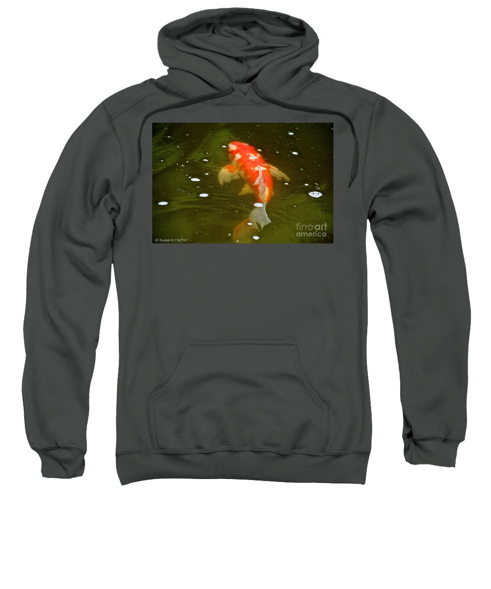 Pond Sweatshirt featuring the photograph Fancy Fins by Susan Herber