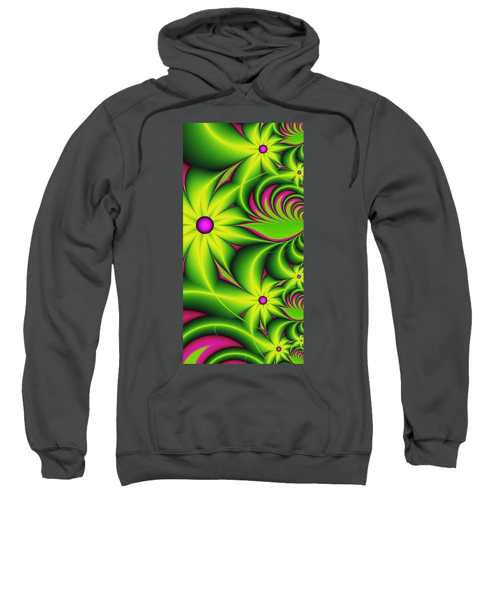 Fractal Sweatshirt featuring the digital art Fantasy Flowers by Gabiw Art