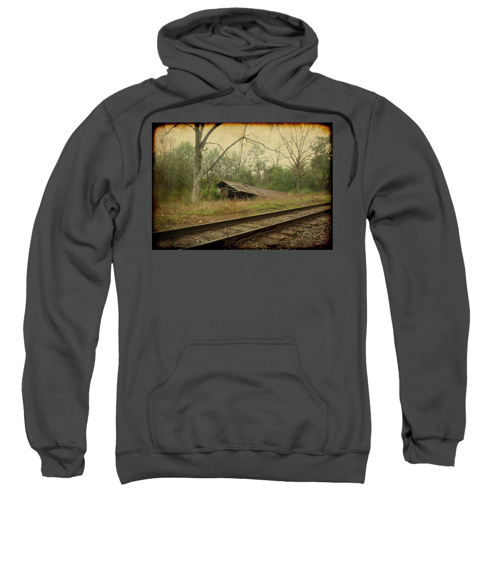 Railroad Sweatshirt featuring the photograph Far Side Of The Tracks by Carla Parris