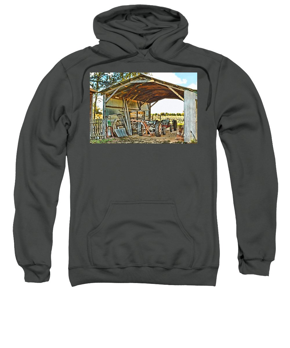 Arcitecture Sweatshirt featuring the photograph Farm Shed Digital Watercolor by Debbie Portwood
