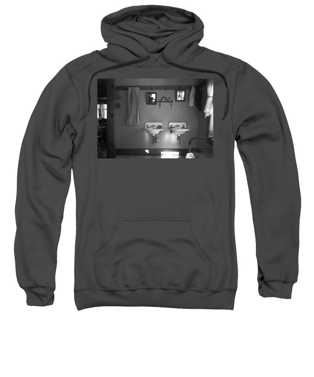1936 Sweatshirt featuring the photograph Farmhouse Washroom, 1936 by Granger