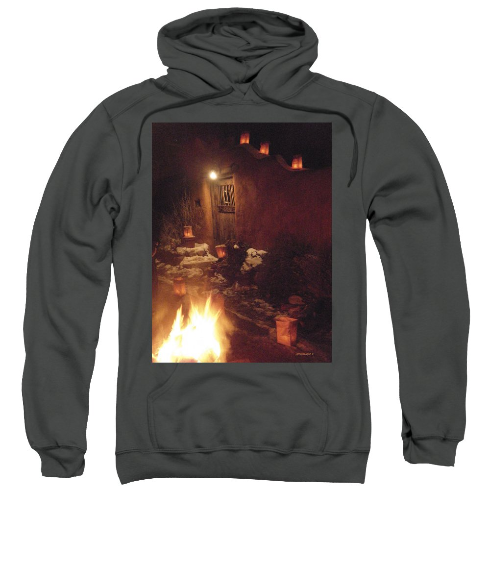 Farolitos Sweatshirt featuring the photograph Farolitos And Luminaria Near Door by Tamara Kulish