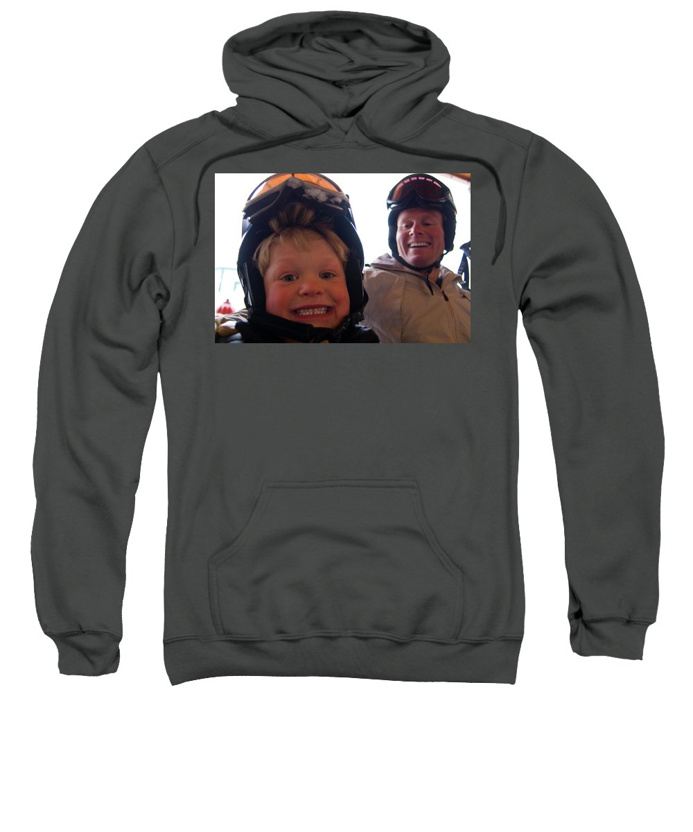 Big Mountain Sweatshirt featuring the photograph Father And Son At Big Mountain by Heath Korvola