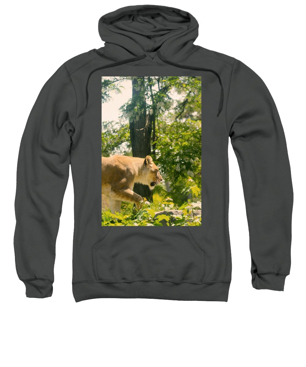 Lion Sweatshirt featuring the photograph Female Lion On The Move by Tracy Winter