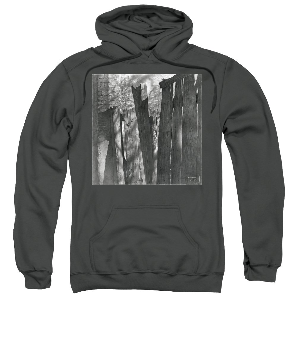Pencil Sweatshirt featuring the drawing Fence Installation by Denis Chernov