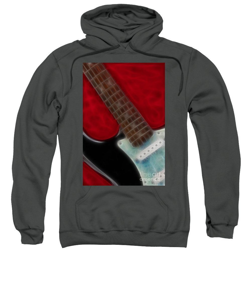 Guitar Sweatshirt featuring the photograph Fender-9644-fractal by Gary Gingrich Galleries