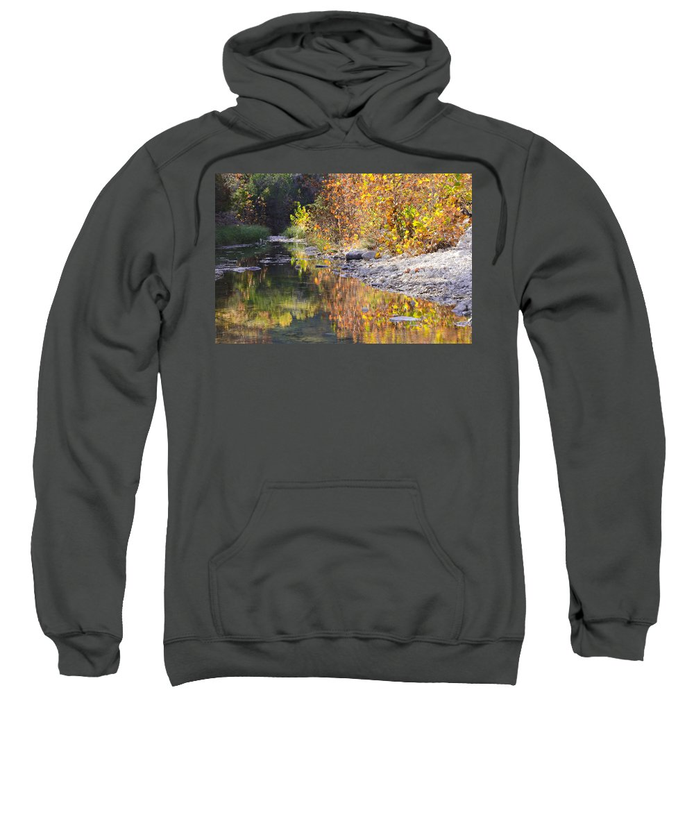 Autumn Sweatshirt featuring the photograph Fiery Reflection At Lost Maples by Debbie Karnes