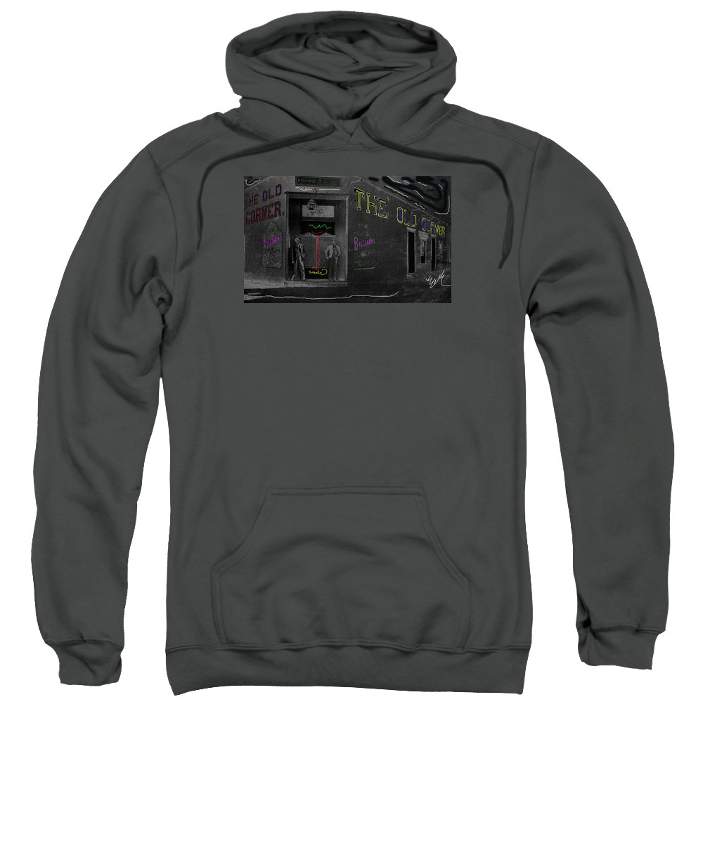 Film Homage The Quiet Man 1952 The Old Corner Saloon Red Light District Tucson Arizona C.1880 Color Drawing Added Sweatshirt featuring the photograph Film Homage The Quiet Man 1952 The Old Corner Saloon Red Light District Tucson Arizona C.1880-2008 by David Lee Guss