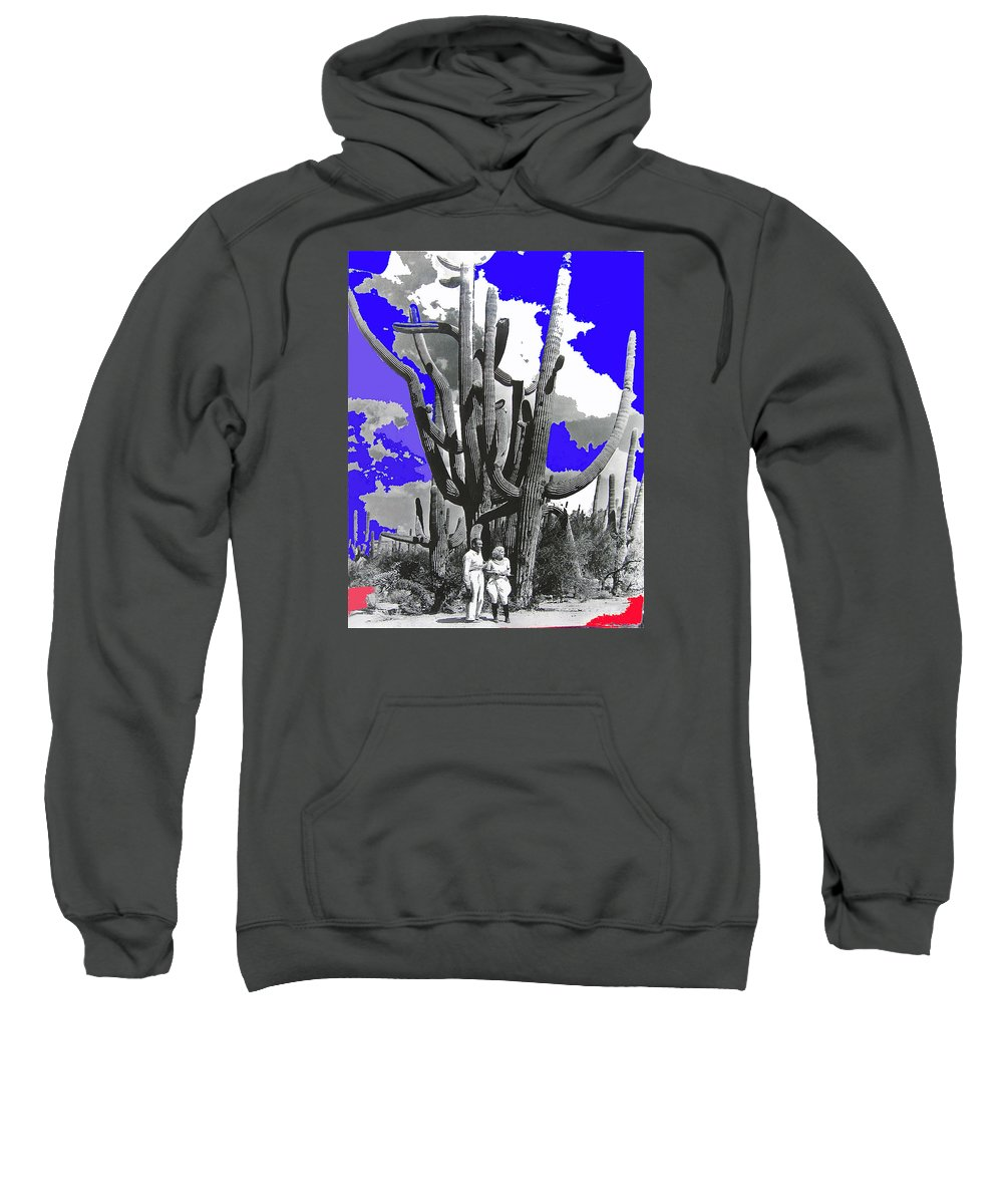 Film Homage Victor Fleming Jean Harlow Bombshell 1933 Saguaro Nat'l Monument Tucson 2008 Color Added Sweatshirt featuring the photograph Film Homage Victor Fleming Jean Harlow Bombshell 1933 Saguaro Nat'l Monument Tucson 2008 by David Lee Guss