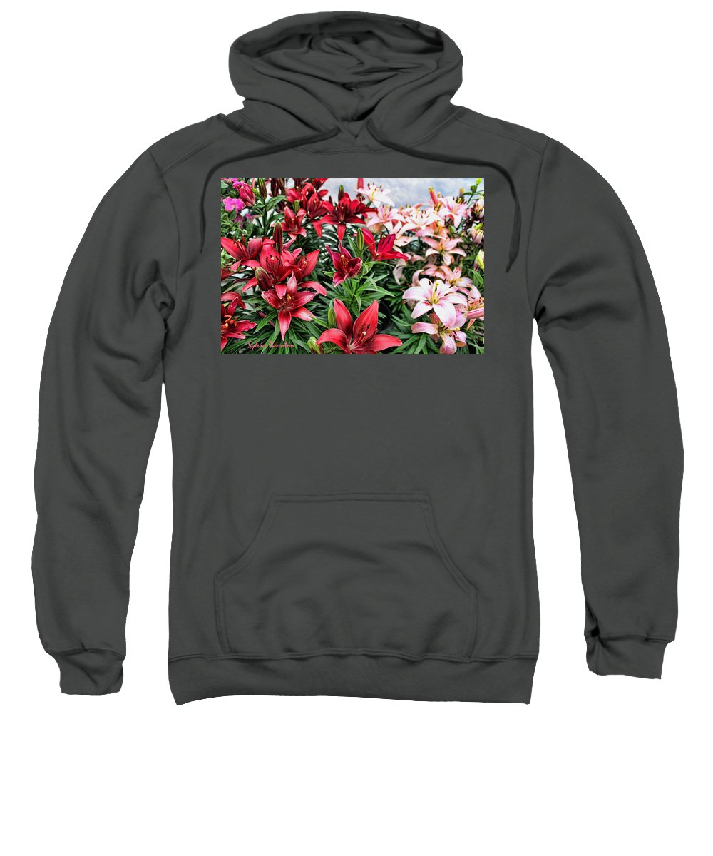 Red Lilies Sweatshirt featuring the photograph Fire And Ice by Sylvia Thornton