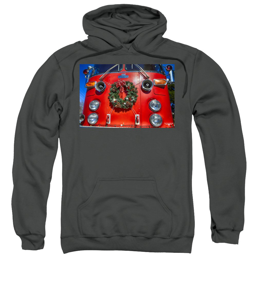 Christmas Sweatshirt featuring the photograph Fire Department Christmas 1 by Tommy Anderson