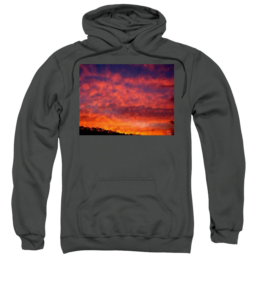 Sunset Sweatshirt featuring the painting Fire On The Hillside by Bruce Nutting