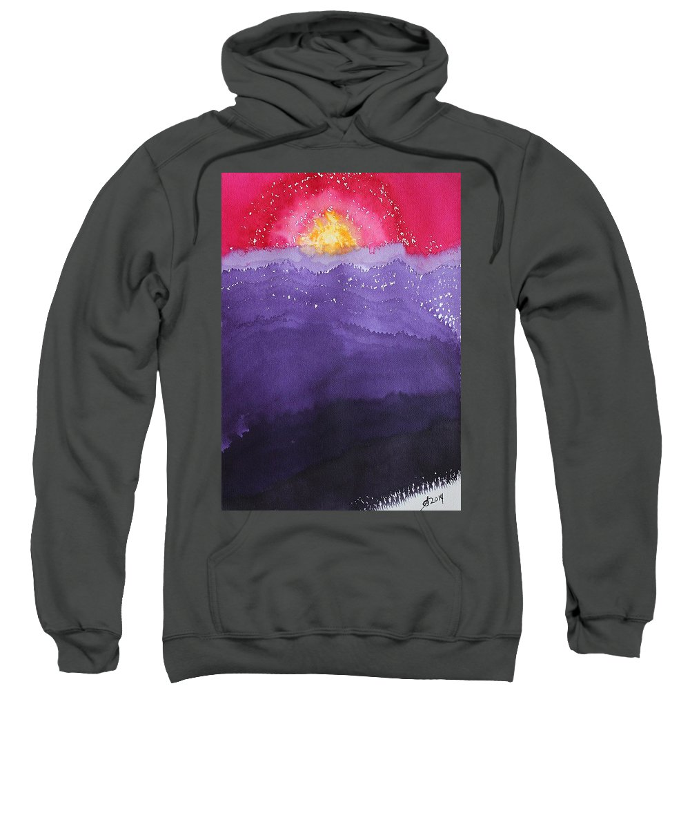 Fire Sweatshirt featuring the painting Fire On The Mountain Original Painting by Sol Luckman