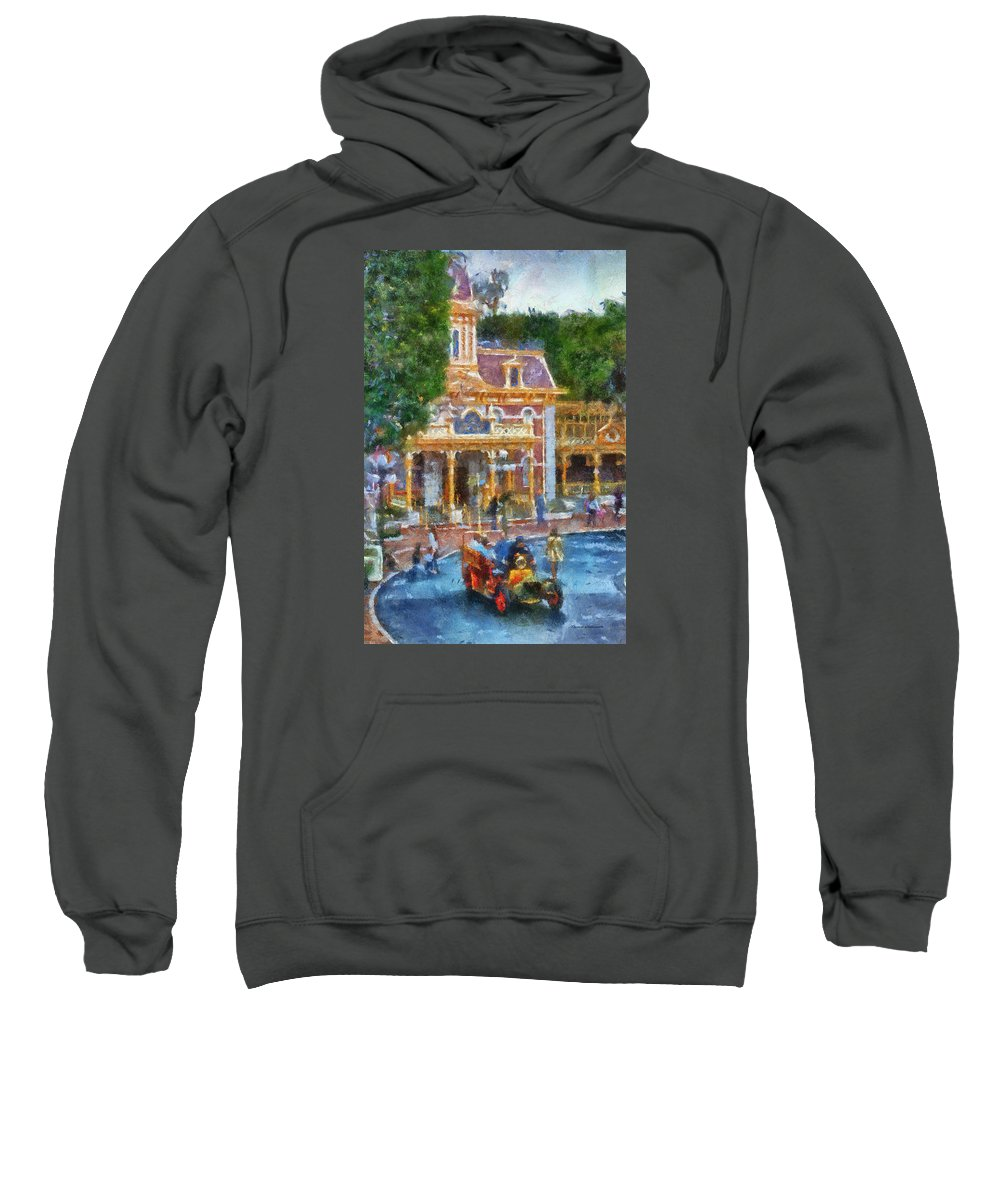 Disney Sweatshirt featuring the photograph Fire Truck Main Street Disneyland Photo Art 02 by Thomas Woolworth