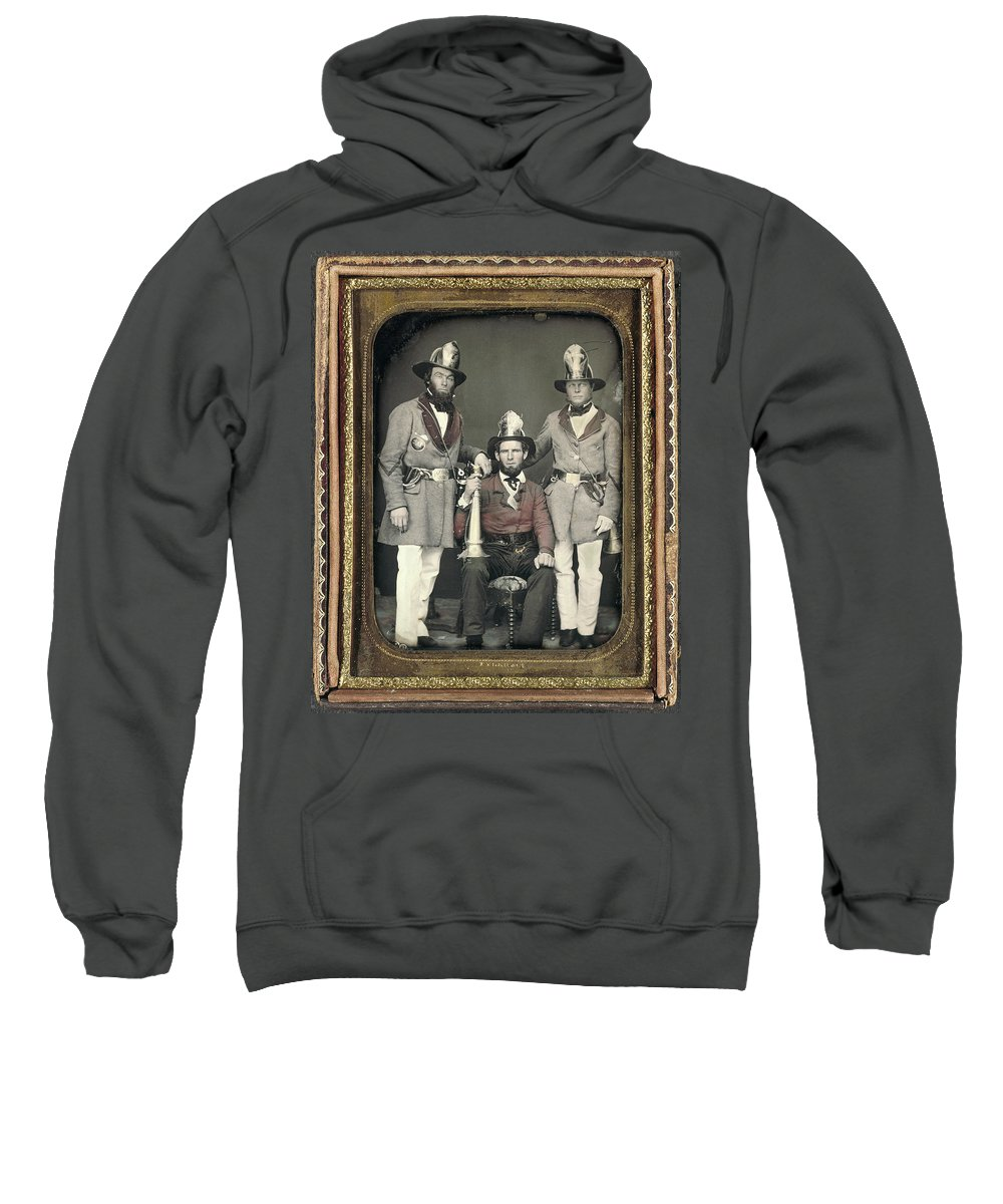1855 Sweatshirt featuring the painting Firemen, C1855 by Granger