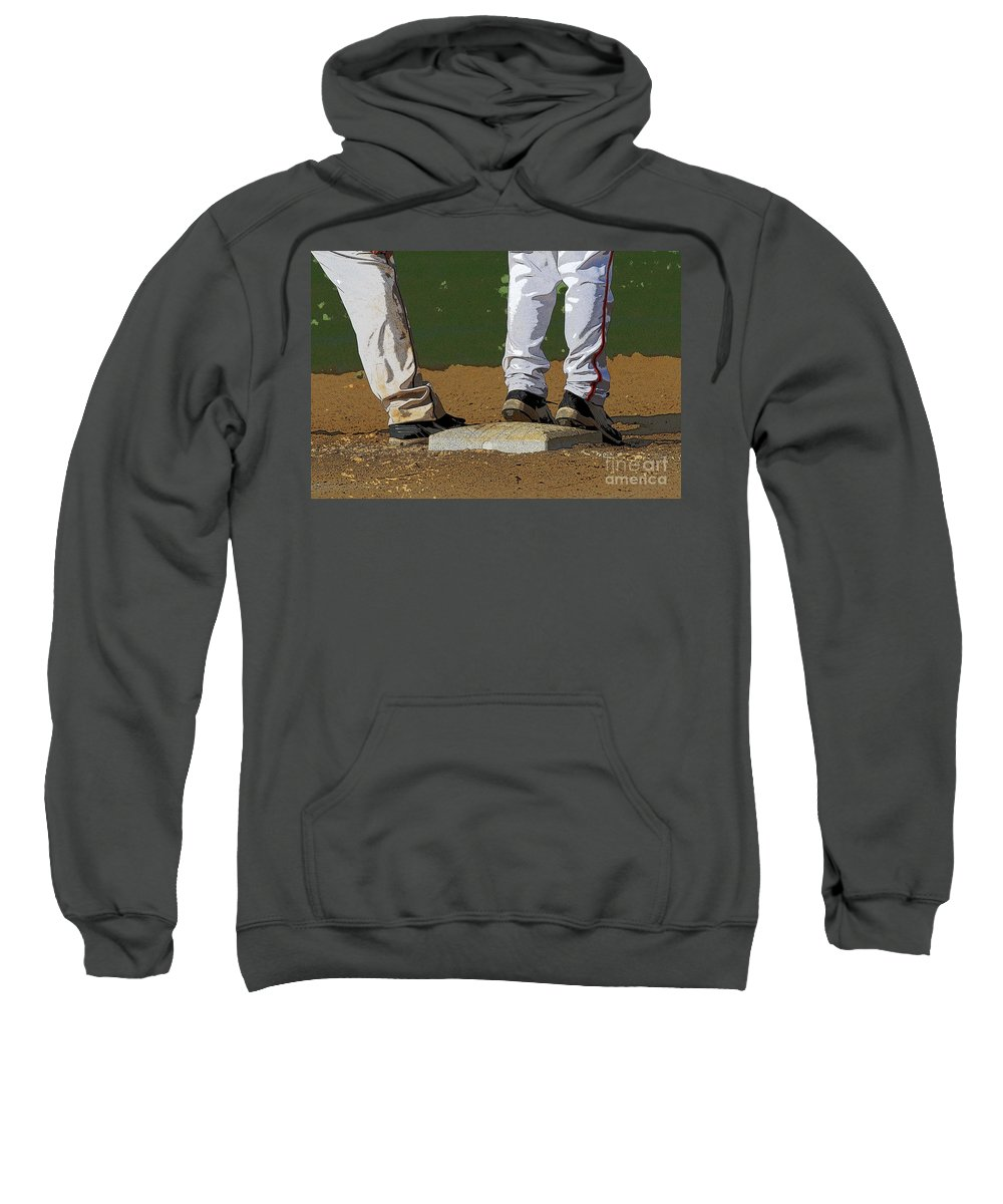 Baseball Sweatshirt featuring the photograph First Base by Cindy Manero