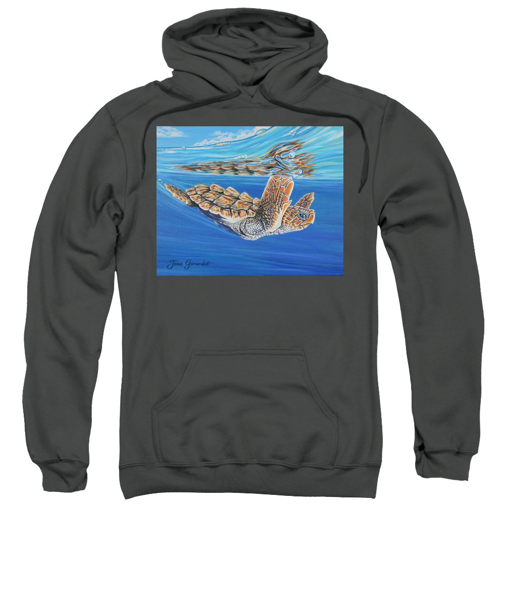 Ocean Sweatshirt featuring the painting First Dive by Jane Girardot
