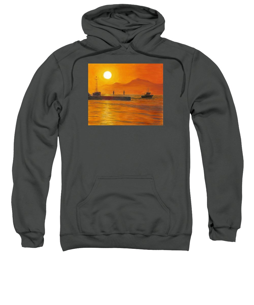 Sunset Sweatshirt featuring the painting Fishing At Sunset by Nicolas Nomicos