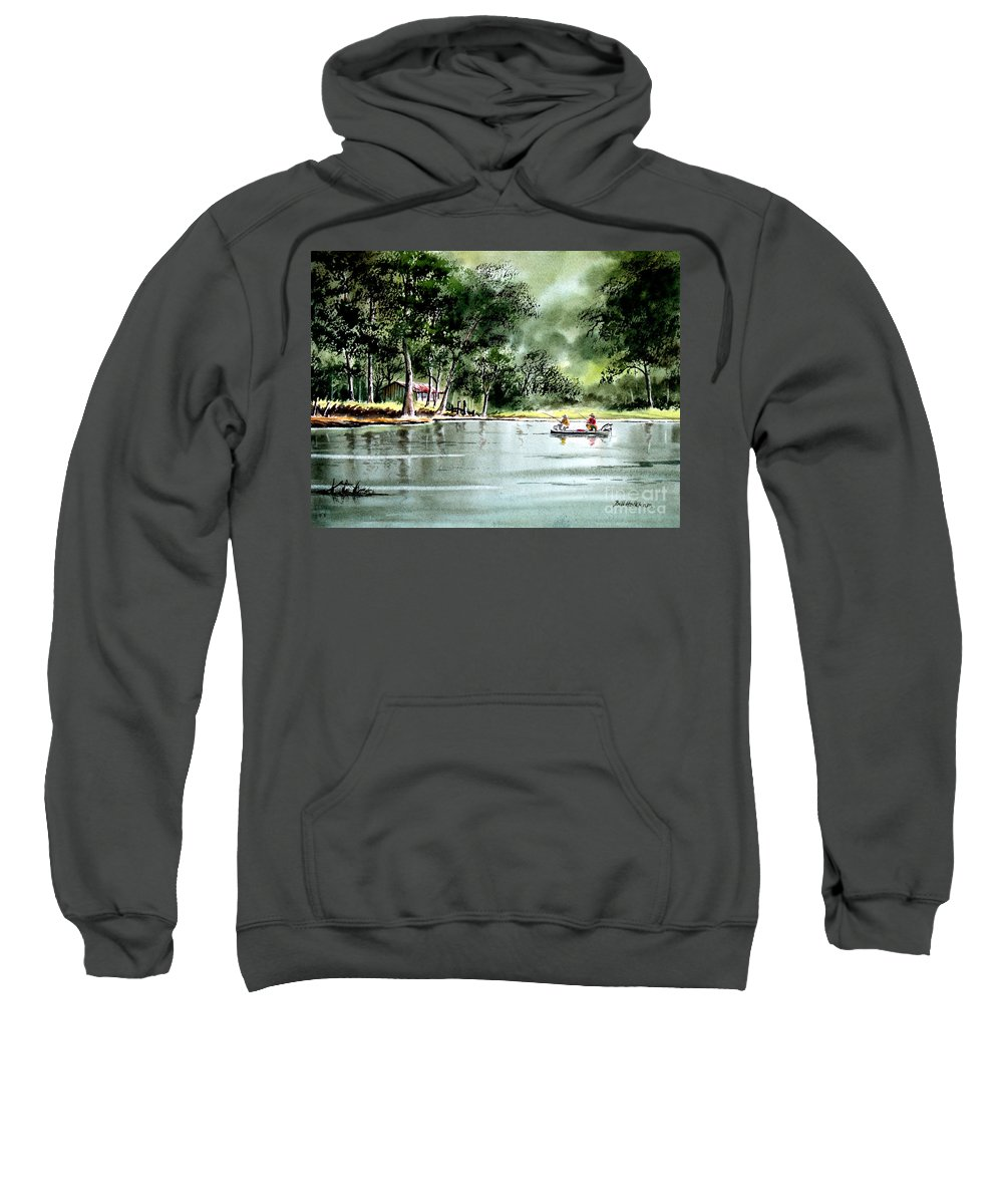 Fishing Sweatshirt featuring the painting Fishing On Lazy Days - Aucilla River Florida by Bill Holkham
